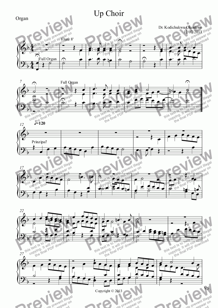 page one of the Organ part from Up Choir