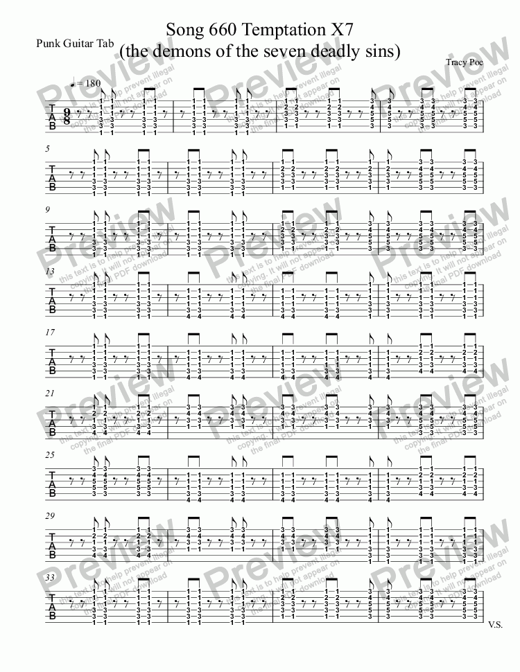 page one of the Punk Guitar Tab part from Song 660 Temptation X7