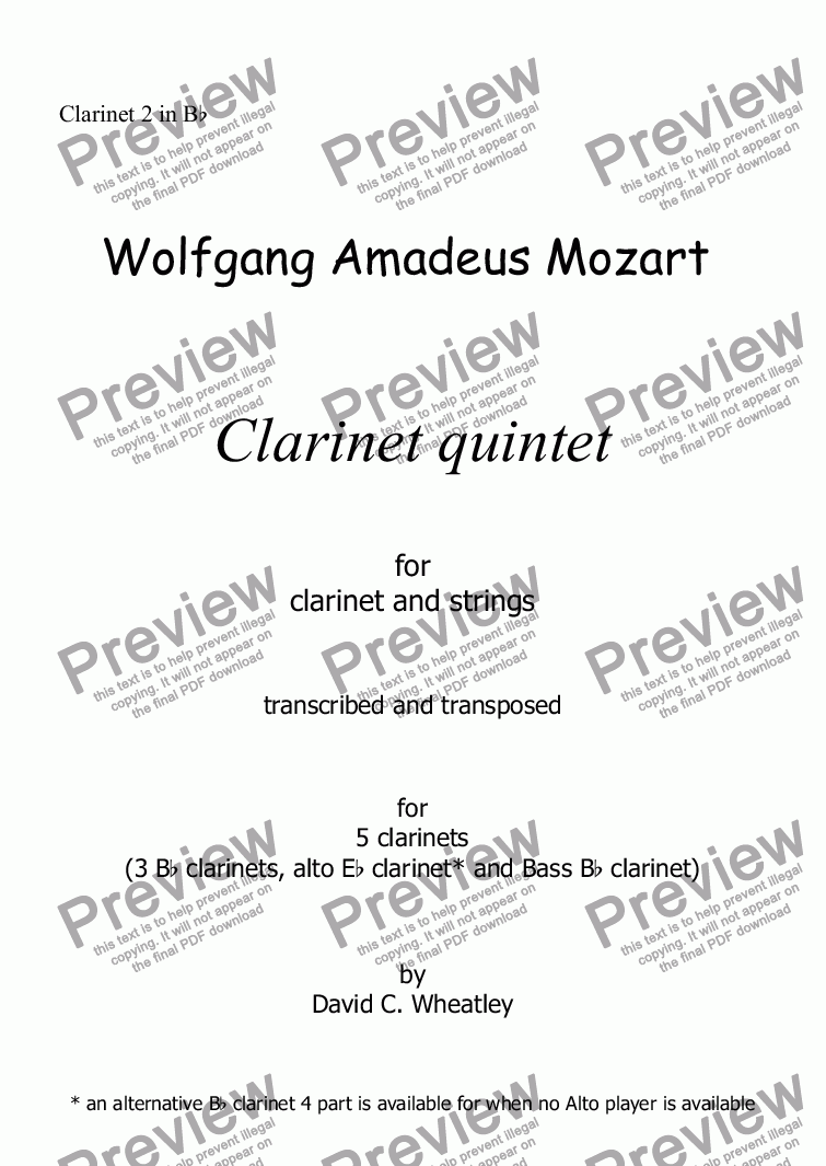 page one of the Clarinet 2 in Bb part from Mozart - Clarinet quintet 1st mvt for 5 clarinets transcribed by David Wheatley