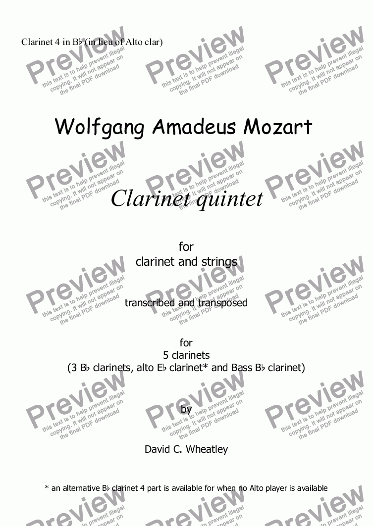 page one of the Clarinet 4 in Bb (in lieu of Alto clar) part from Mozart - Clarinet quintet 1st mvt for 5 clarinets transcribed by David Wheatley