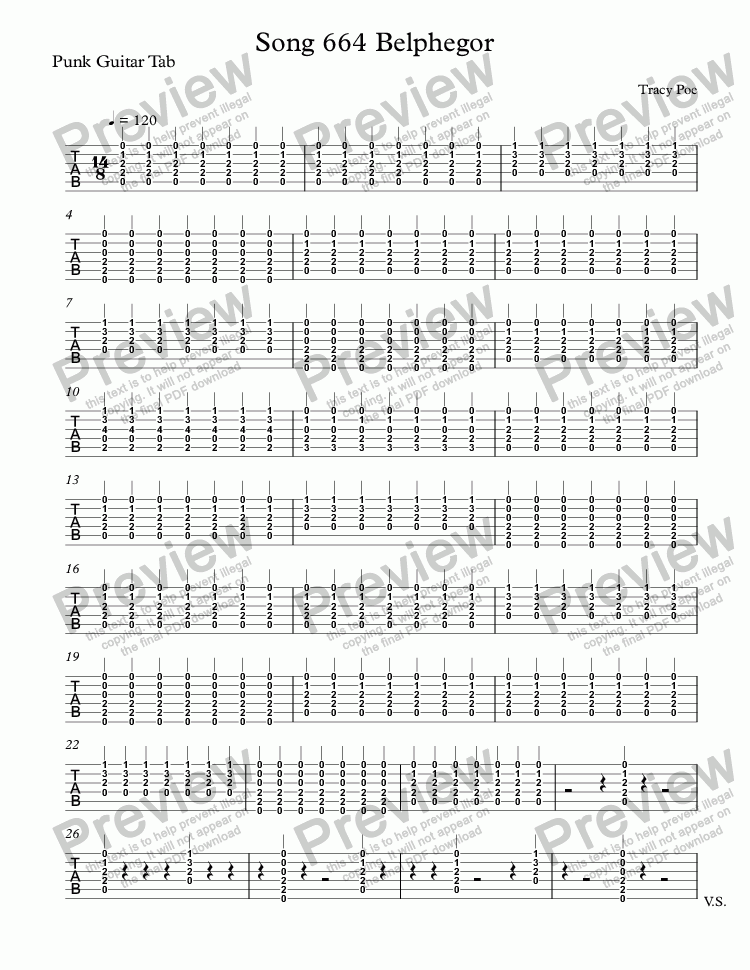 page one of the Punk Guitar Tab part from Song 664 Belphegor