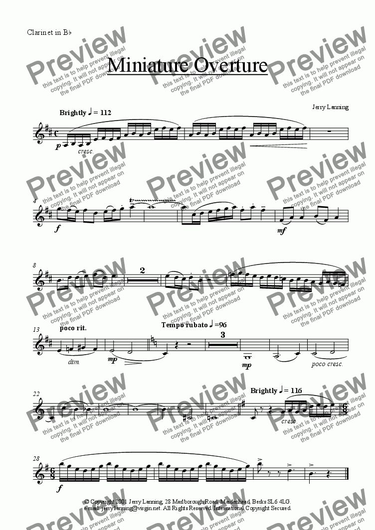 page one of the Clarinet part from Miniature Overture (small ensemble)