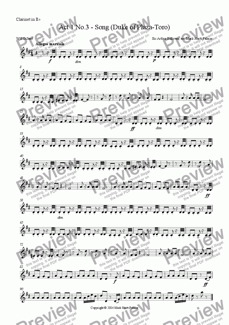 page one of the Clarinet part from The Gondoliers:  Act 1 No.3 - Song (Duke of Plaza-Toro)