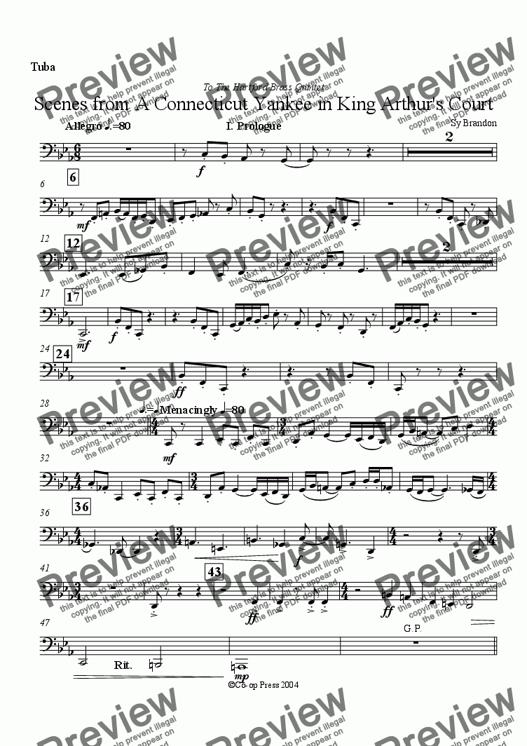 page one of the Tuba part from Scenes from A Connecticut Yankee in King Arthur's Court
