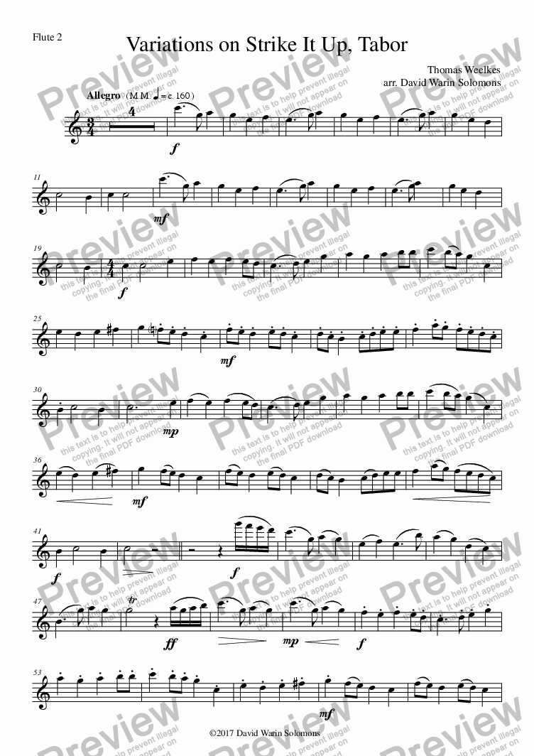 "page one of the variations on strike it up flute trio - Flute 2 part from Variations on ""Strike It Up, Tabor"" for flute trio"