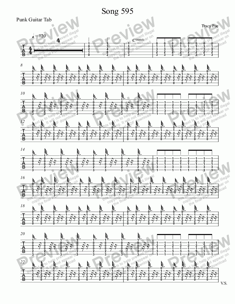 page one of the Punk Guitar Tab part from Song 595 Light Reading