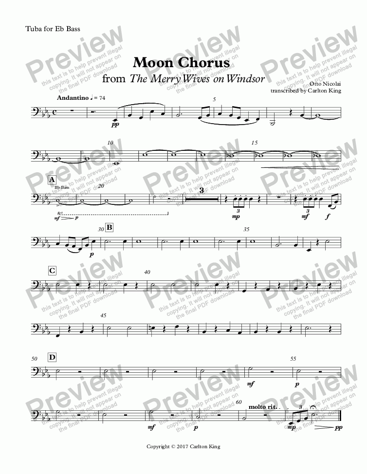 page one of the Tuba for Eb Bass part from Moon Chorus  from The Merry Wives on Windsor