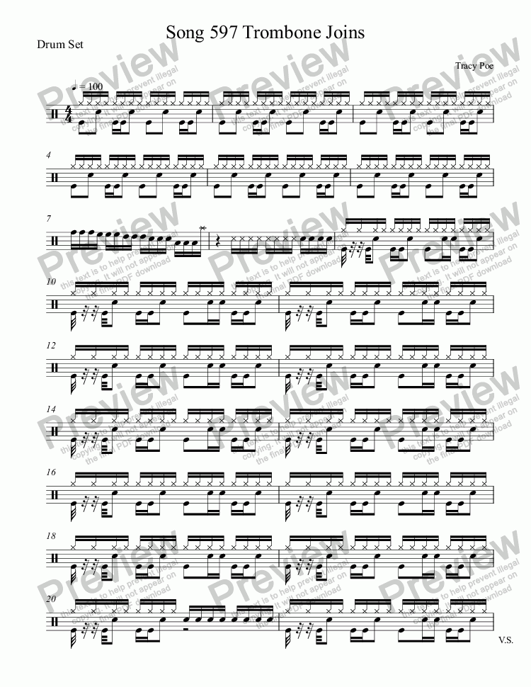 page one of the Drum Set part from Song 597 Enter Tom Bones