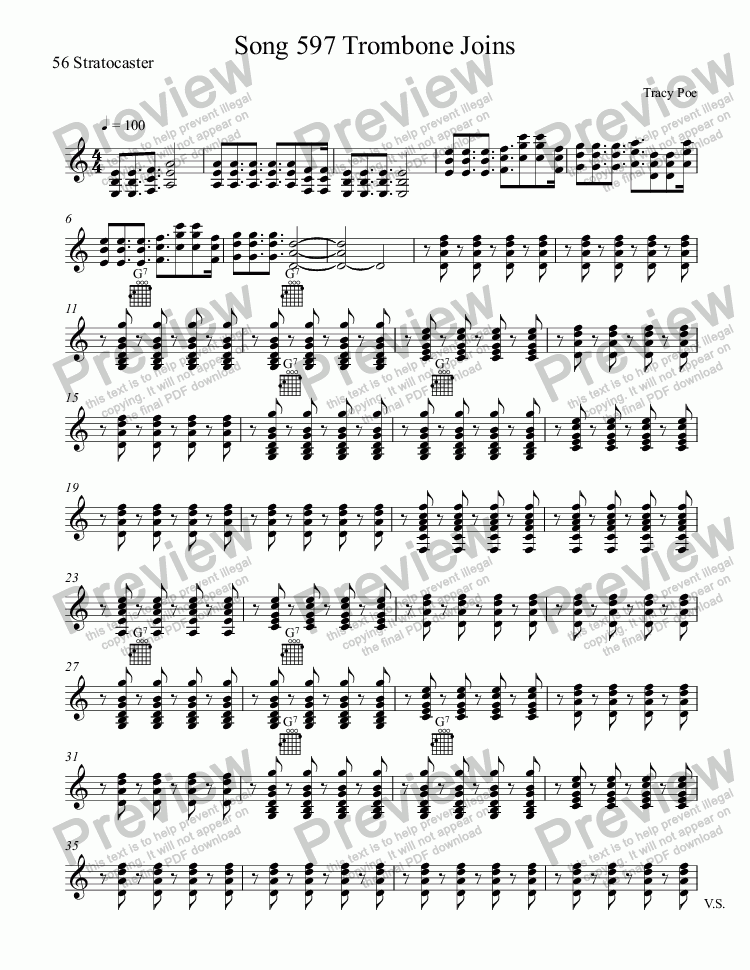 page one of the 56 Stratocaster part from Song 597 Enter Tom Bones
