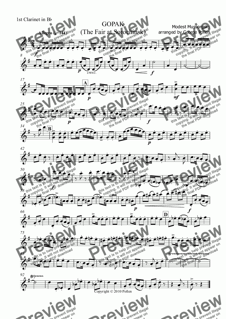 page one of the 1st Clarinet in Bb part from GOPAK  (The Fair at Sorochinsk)