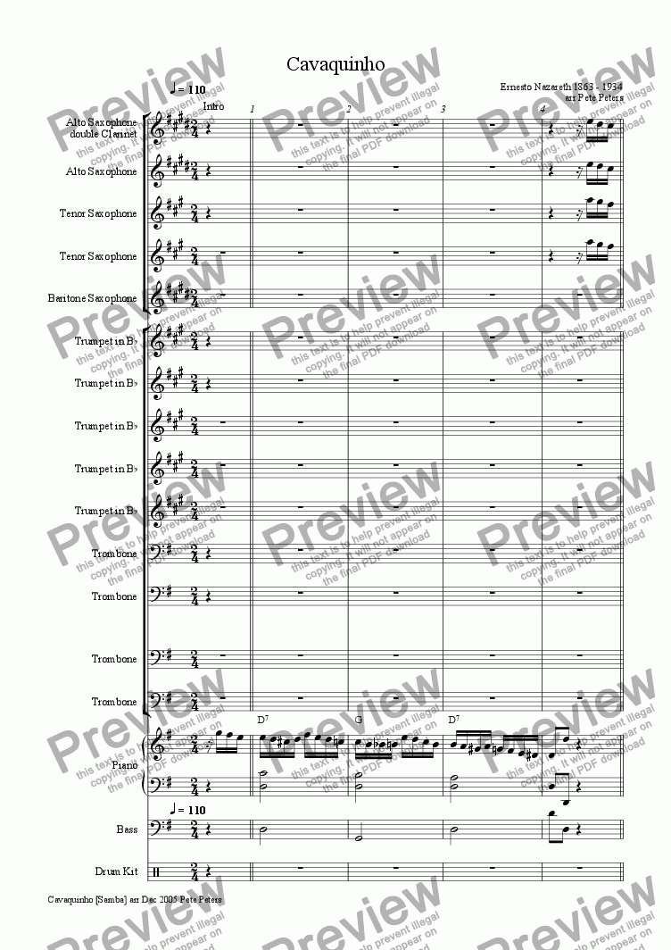 page one of the Trumpet 5 part from Cavaquinho [pron Kav-a-keen-yo] Big Band Samba [tested to print]