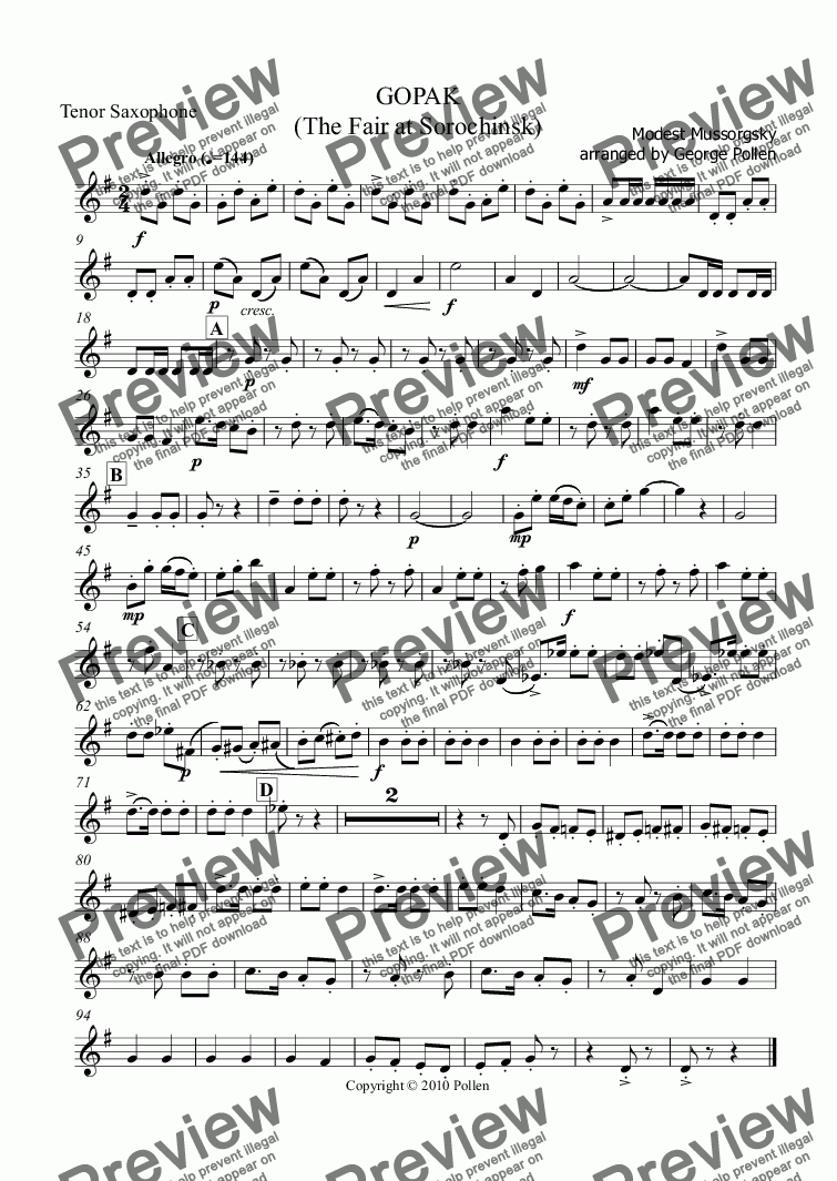 page one of the Tenor Saxophone part from GOPAK  (The Fair at Sorochinsk)