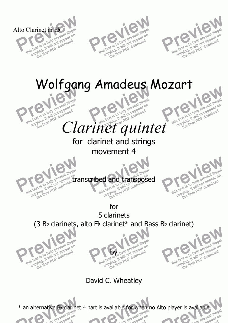 page one of the Alto Clarinet in Eb part from Mozart - Clarinet quintet 4th mvt for 5 clarinets transcribed by David Wheatley