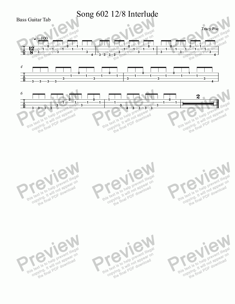 page one of the Bass Guitar Tab part from Song 602 12/8 Interlude