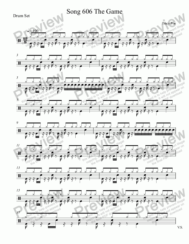 page one of the Drum Set part from Song 606 The Game