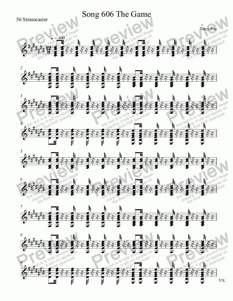 page one of the 56 Stratocaster part from Song 606 The Game
