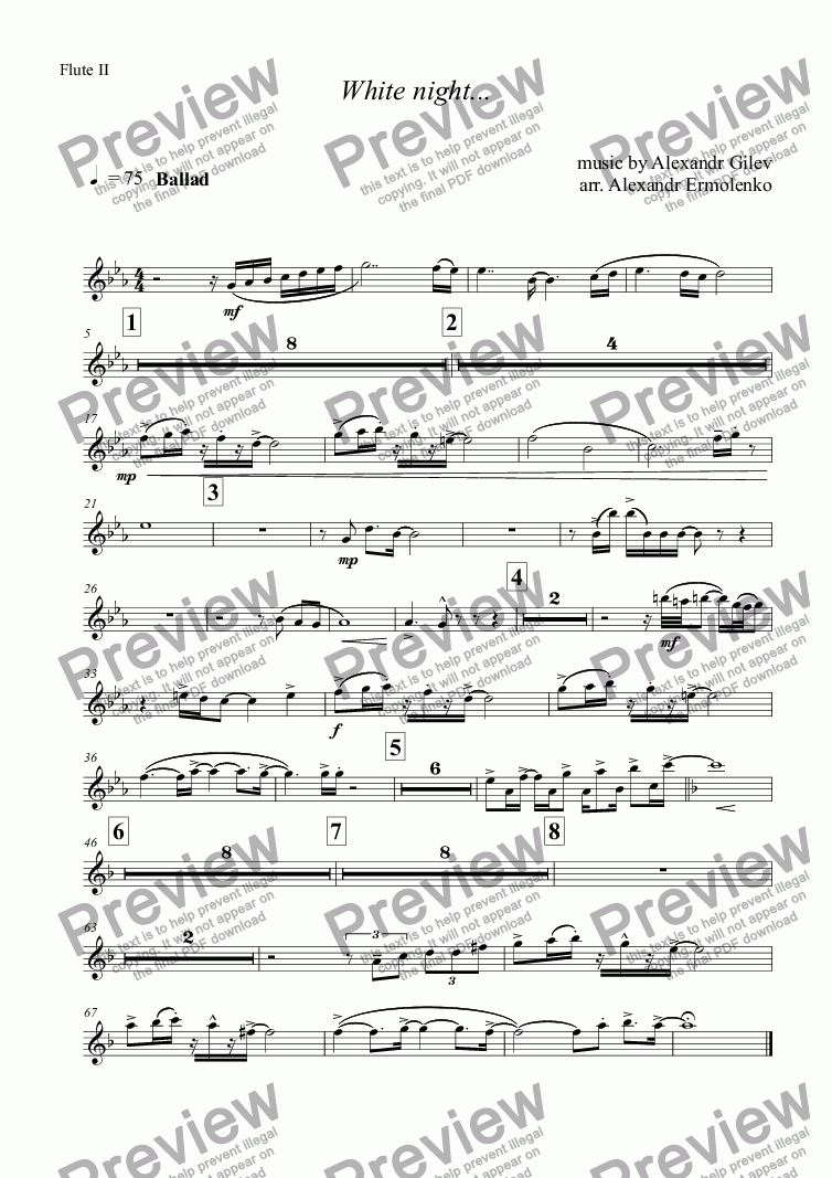 page one of the Flute II part from White night...