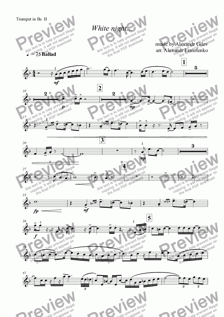 page one of the Trumpet in Bb II part from White night...
