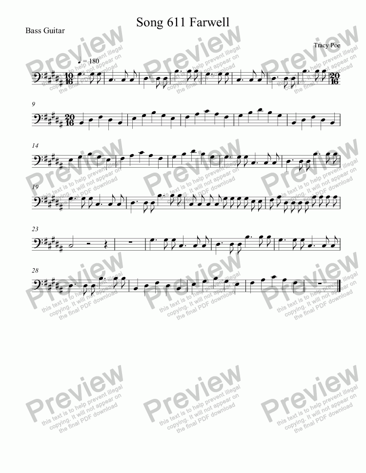 page one of the Bass Guitar part from Song 611 Farewell President Obama