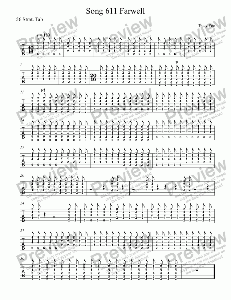 page one of the 56 Strat. Tab part from Song 611 Farewell President Obama
