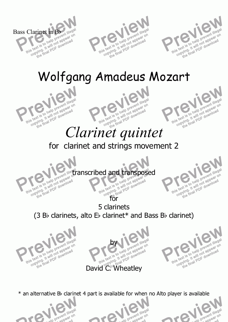 page one of the Bass Clarinet in Bb part from Mozart - Clarinet quintet 2nd mvt for 5 clarinets transcribed by David Wheatley