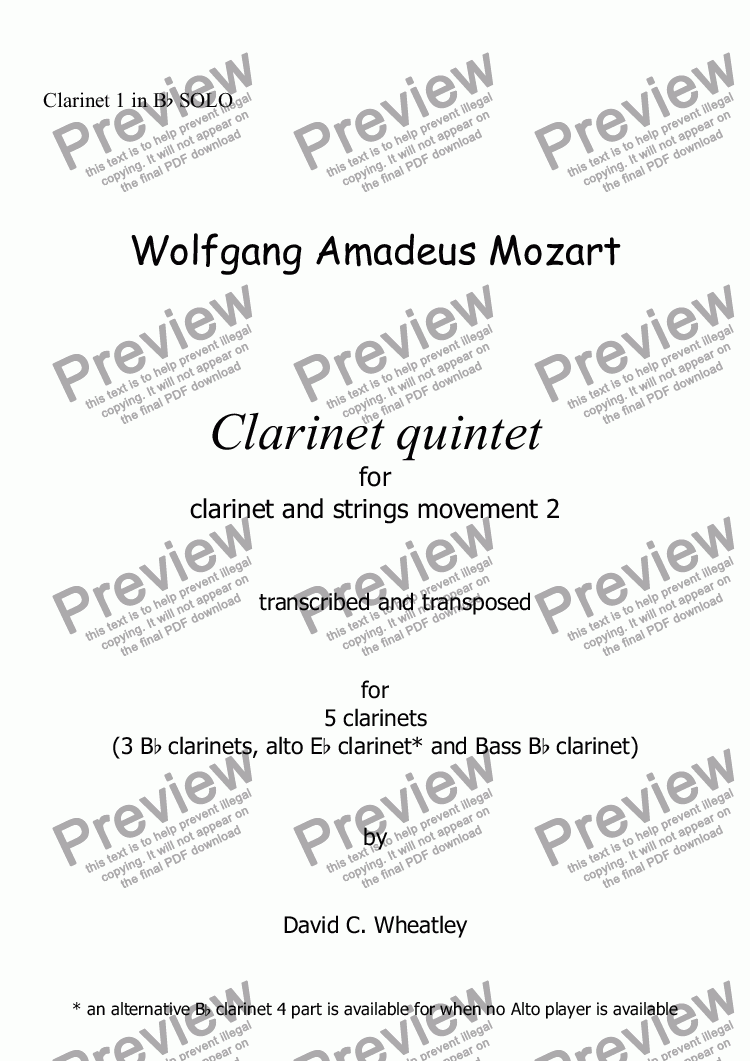 page one of the Clarinet 1 in Bb SOLO part from Mozart - Clarinet quintet 2nd mvt for 5 clarinets transcribed by David Wheatley