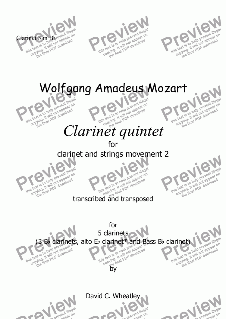 page one of the Clarinet 3 in Bb part from Mozart - Clarinet quintet 2nd mvt for 5 clarinets transcribed by David Wheatley