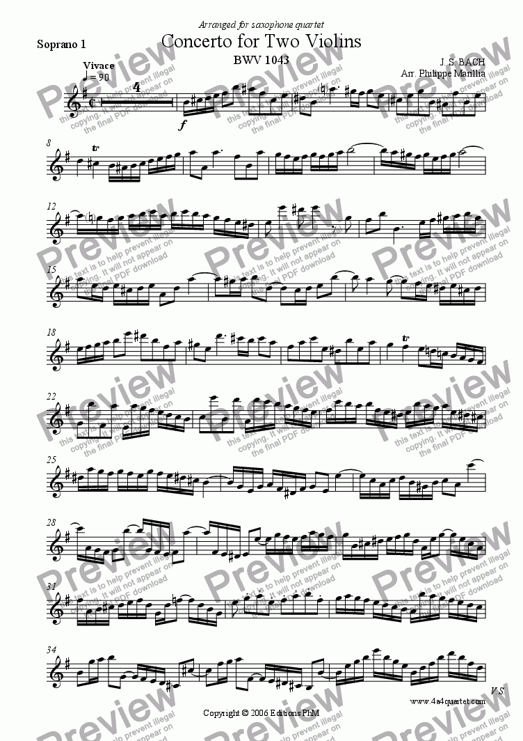 page one of the Soprano Sax 1 part from Bach - Concerto for Two Violins 1st mvt (Sax Quartet)