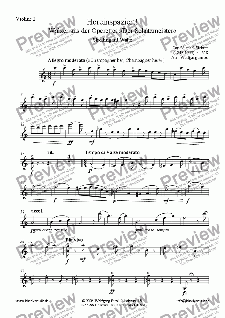 page one of the Violin I part from Hereinspaziert! Walzer (Strolling in. Waltz) (For Strings)