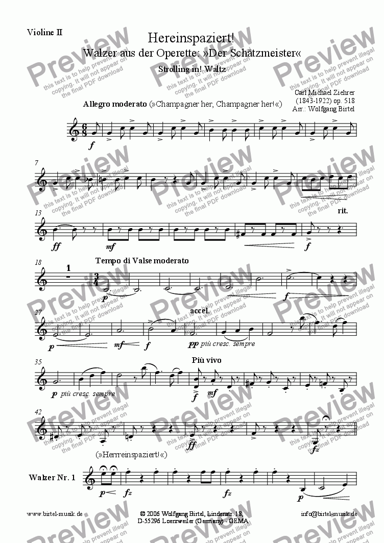 page one of the Violin II part from Hereinspaziert! Walzer (Strolling in. Waltz) (For Strings)