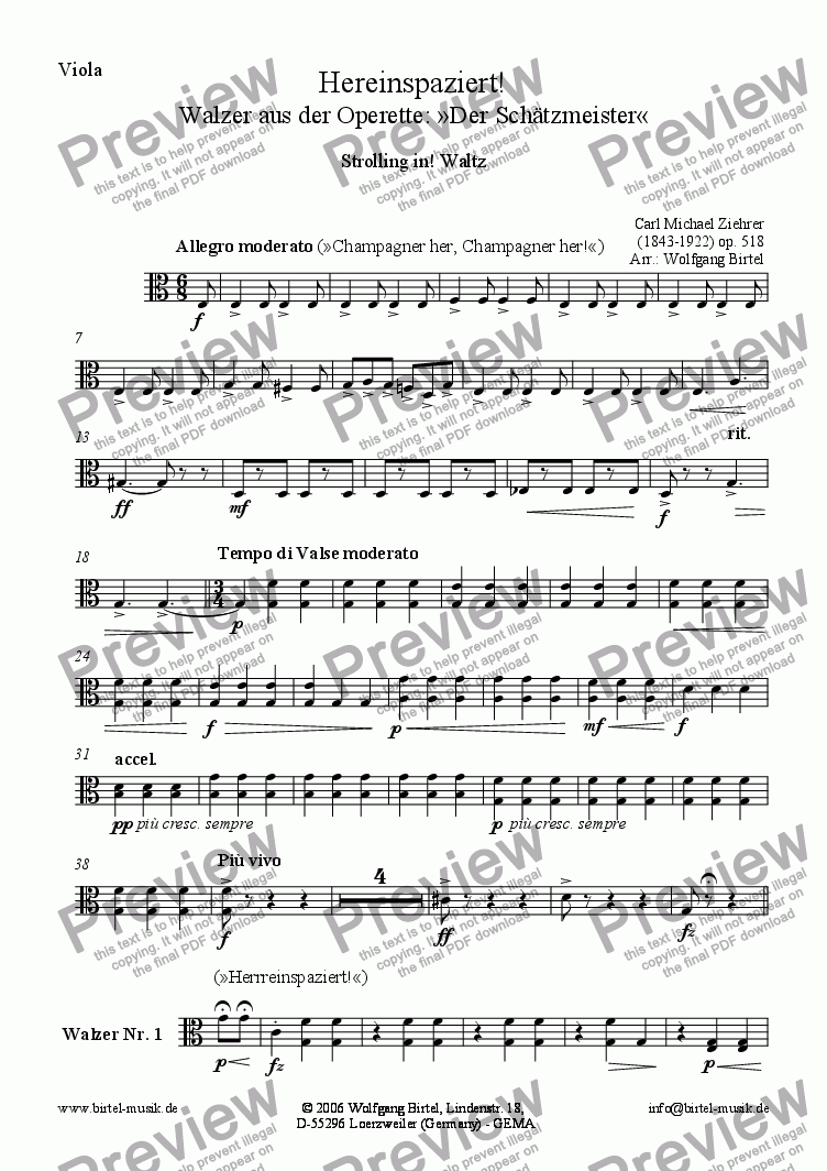 page one of the Viola part from Hereinspaziert! Walzer (Strolling in. Waltz) (For Strings)