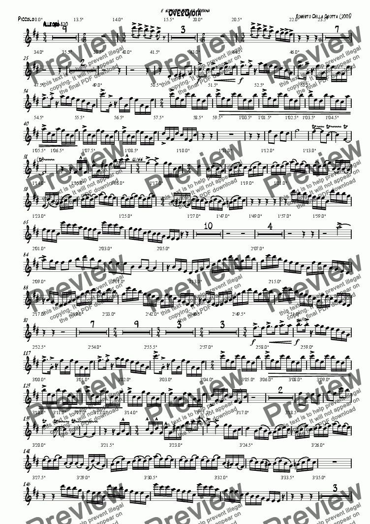 page one of the Piccolo part from Overgioia