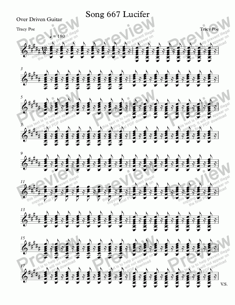 page one of the Over Driven Guitar part from Song 667 Lucifer