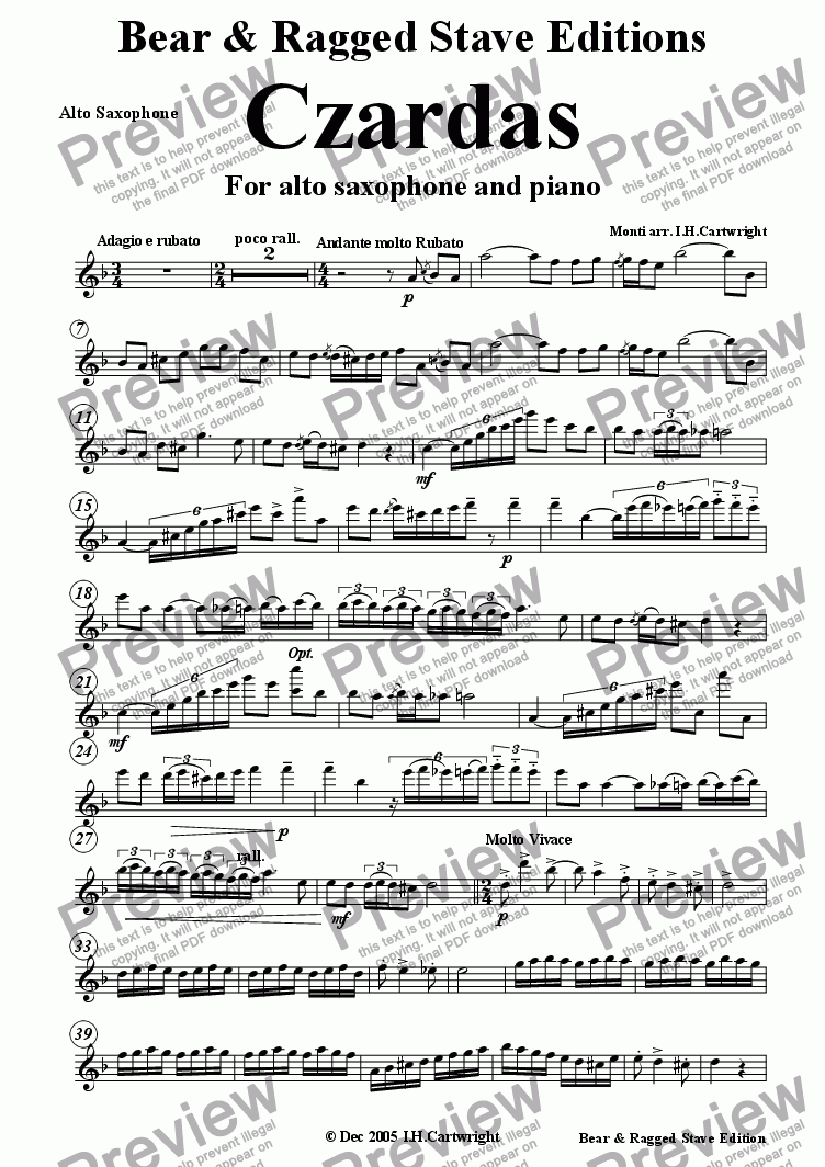page one of the alto saxophone part from Czardas for alto saxophone & piano