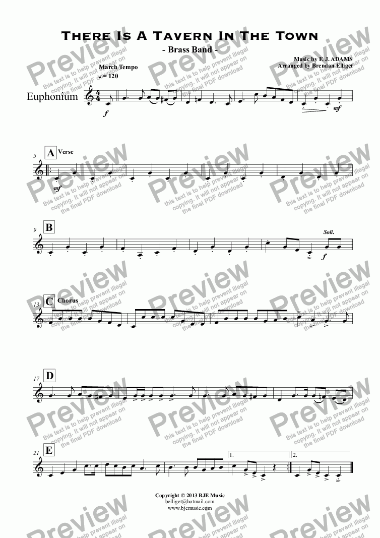 page one of the Euphonium part from There Is A Tavern In The Town - Brass Band