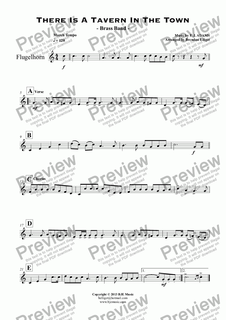 page one of the Flugelhorn part from There Is A Tavern In The Town - Brass Band