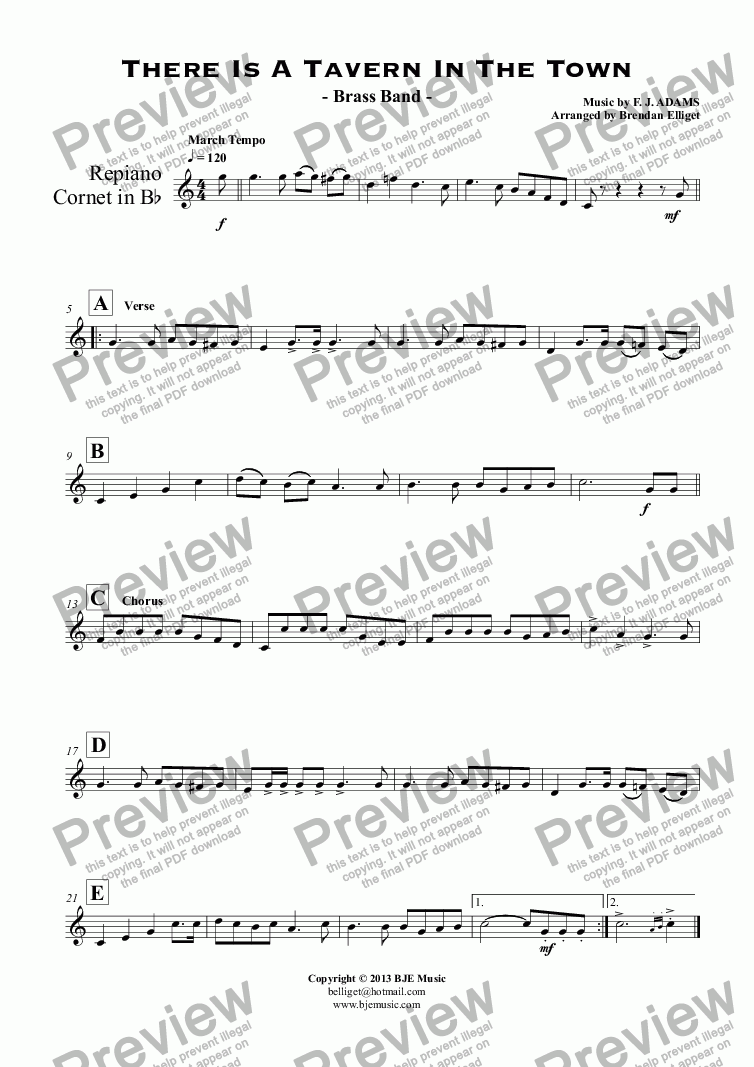 page one of the Repiano Cornet in B^b part from There Is A Tavern In The Town - Brass Band