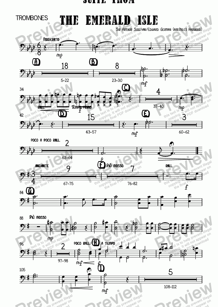 page one of the Trombones part from Suite from   The Emerald Isle