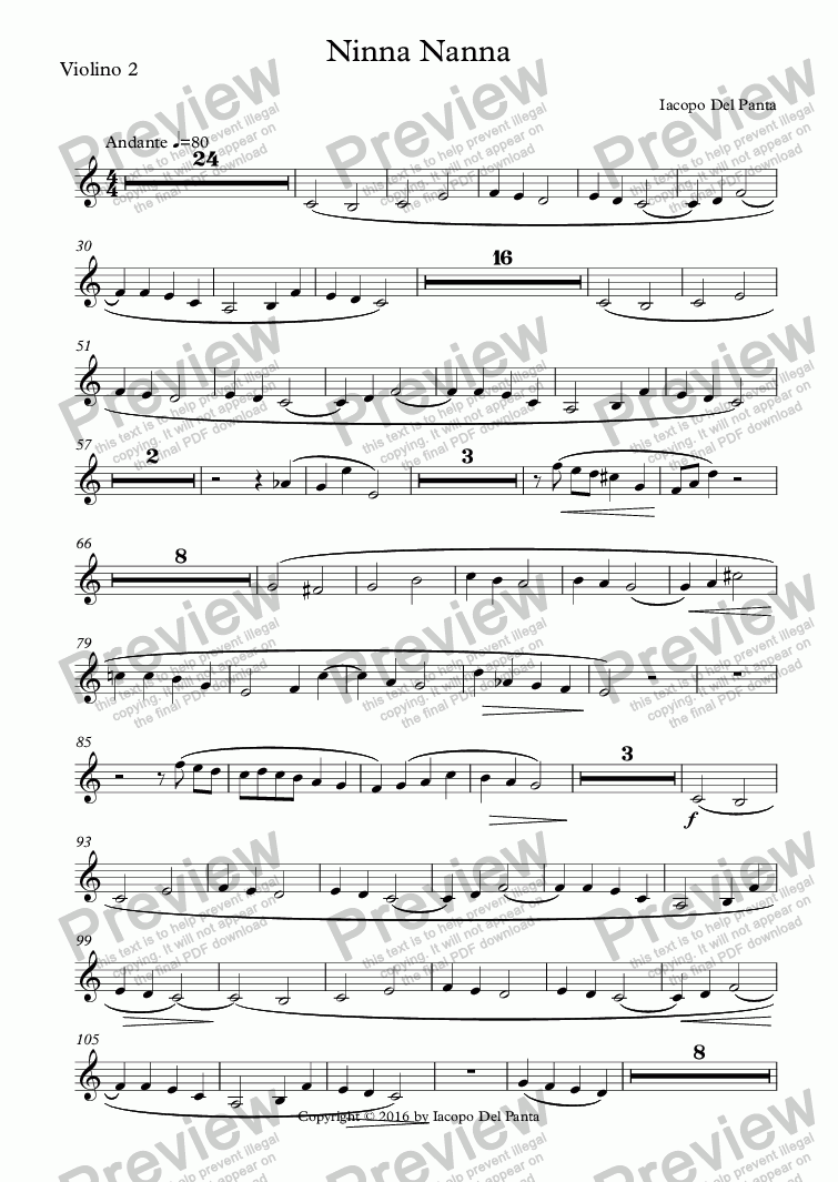 page one of the Violino 2 part from Ninna Nanna