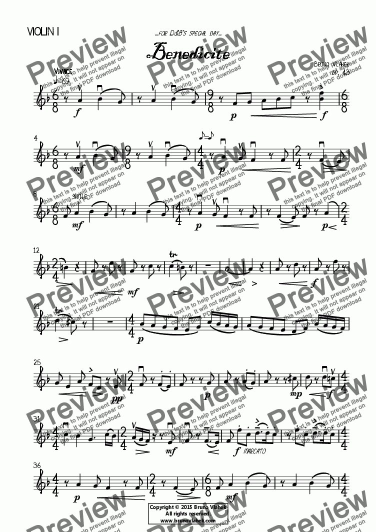 page one of the Benedicite - Violin I part part from Benedicite (choral version)