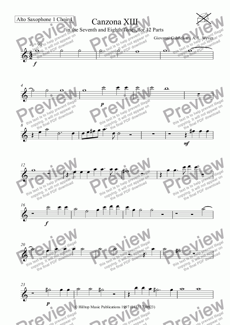 page one of the Alto Saxophone 1 Choir 1 part from Canzona XIII arr. saxophone ensemble