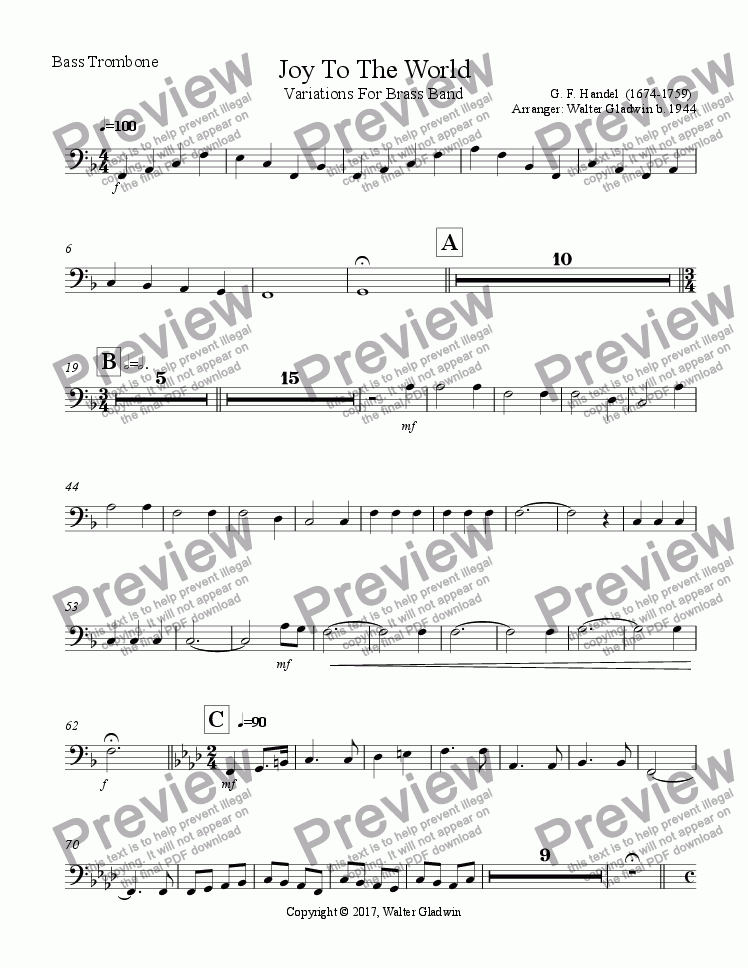 page one of the Joy To the World - Bass Trombone part from Joy To the World: Variations For Brass Band