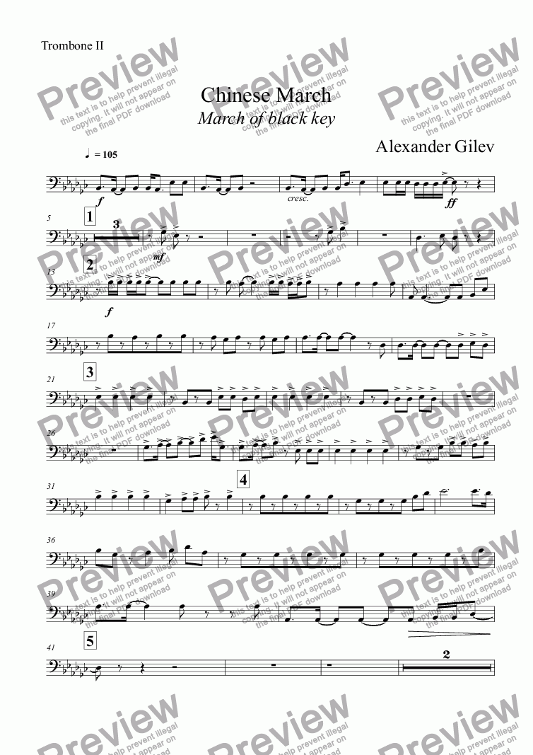 page one of the Trombone II part from Chinese March March of black key
