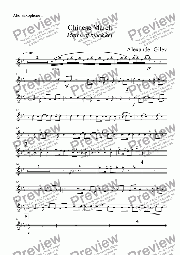 page one of the Alto Saxophone I part from Chinese March March of black key