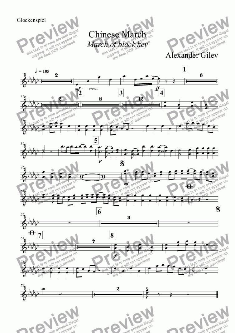 page one of the Glockenspiel part from Chinese March March of black key