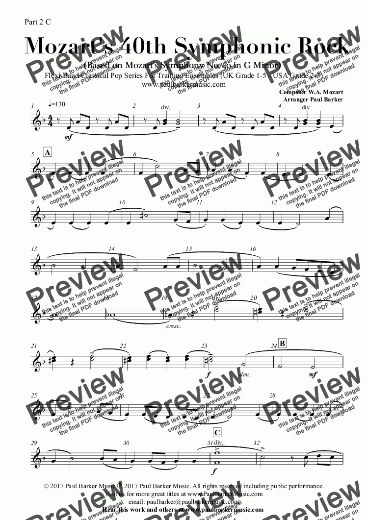 page one of the Part 2 C part from Mozart's 40th Symphonic Rock (Flexi-Band Classical Pop Series)