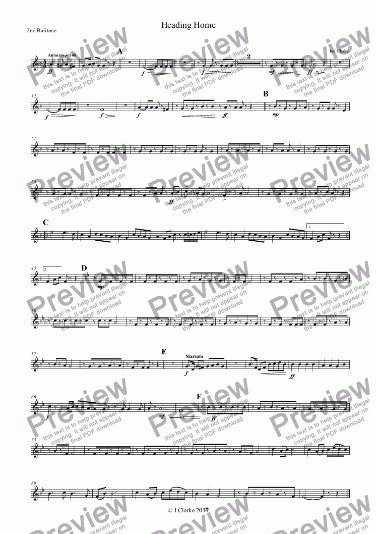 page one of the 2nd Baritone part from Heading Home