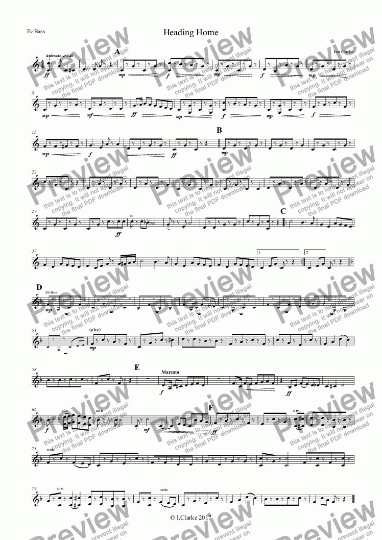 page one of the E^b Bass part from Heading Home