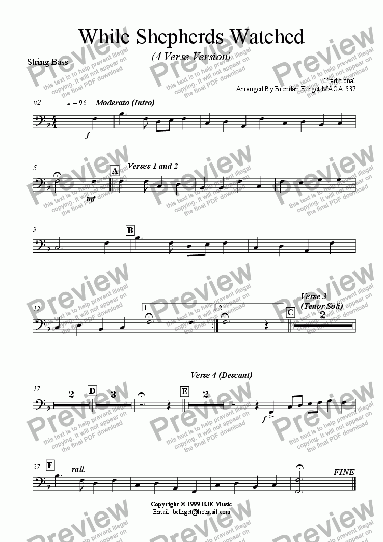 page one of the String Bass part from While Shepherds Watched (Christmas) - Concert Band