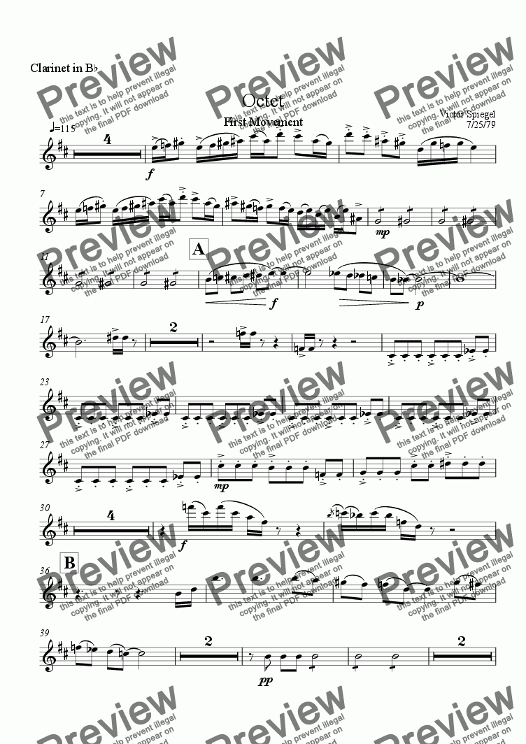 page one of the Clarinet part from Octet